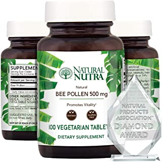 Nutra 100% Pure Bee Pollen Pills for Protein Energy, Healthy Skin Supplements, Allergy Relief, Immunity Sup...