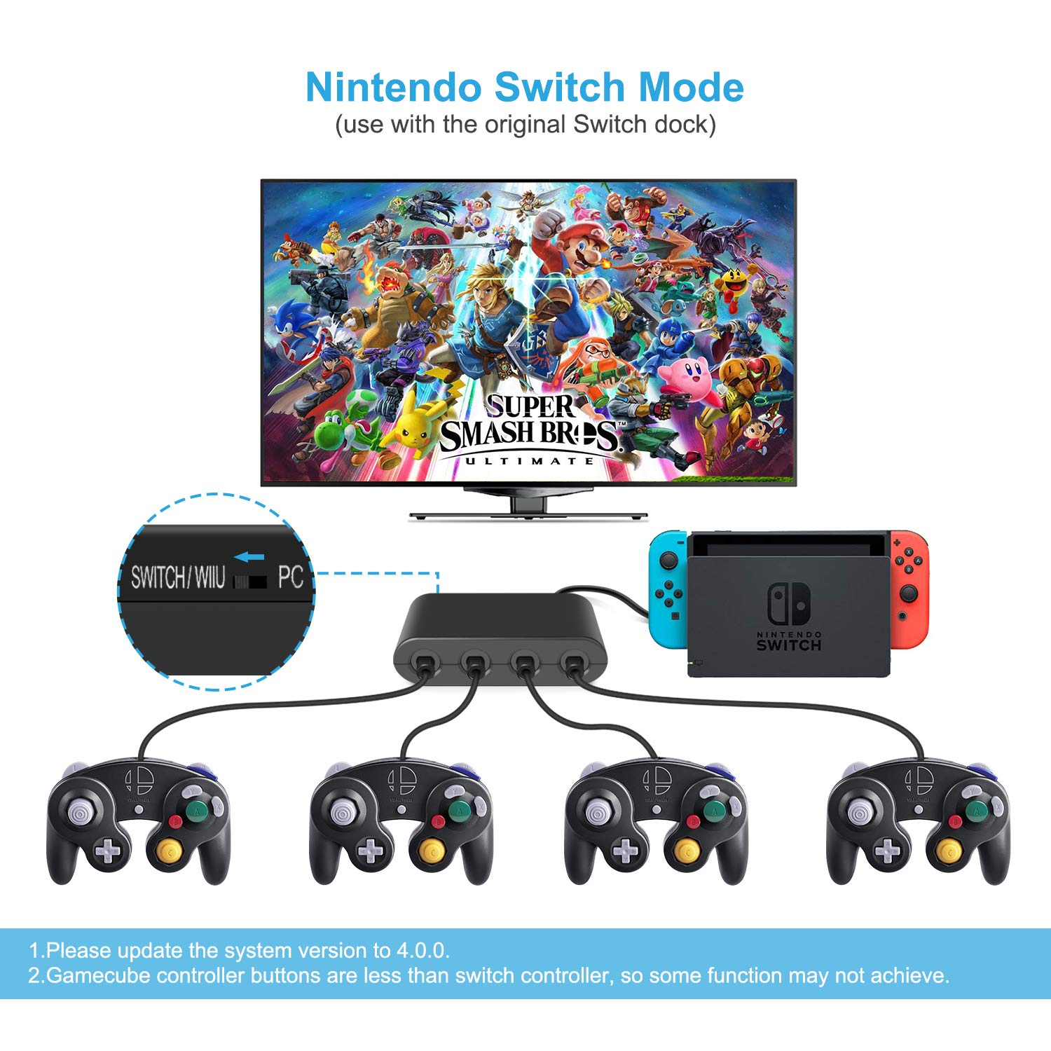 Keten Gamecube Controller Adapter para Switch, Wii U and USB PC ...