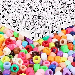 FLOFIA 1000pcs Perles Multicolores Rondes + 500pcs Perles de Lettre en Plastique Acrylique Assortiment de Perles Alphabet ...