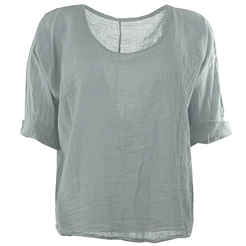f2d58705e77 Gracious Girl Women Italian Quirky Lagenlook Plain Linen Comfy Casual  Blouse Hip Top