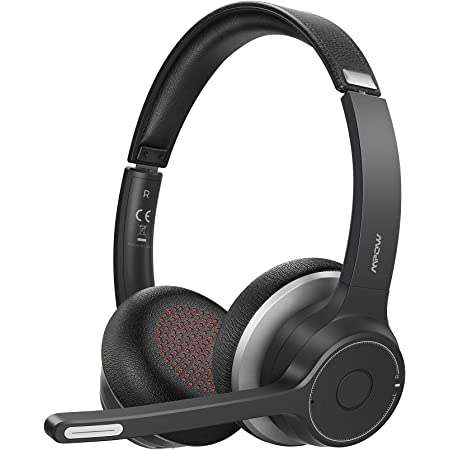 Mpow Bluetooth Headset 5.0 with Dual Microphone, Wireless PC Headphones, CVC 8.0 Noise Canceling, On Ear for Computer, Cell Phone, Call Center, Skype, 22 Hours Talk Time, Soft Earpad, Wired Optional