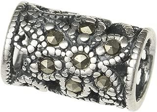 Antique 925 Sterling Silver Bali Vintage Marcasite Flower Bead Tube 10mm For European Charm Bracelets