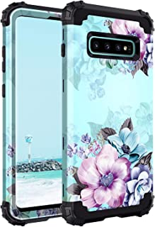 Casetego Compatible Galaxy S10 Case,Floral Three Layer Heavy Duty Hybrid Sturdy Armor Shockproof Full Body Protective Cove...