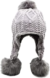 Lovful Lady's Girl's Winter Warm Crochet Cap with Ear Flaps Thick Hood Beanie Hat
