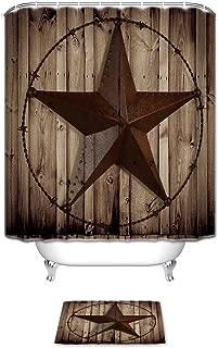 KAROLA Western Texas Star Bathroom Shower Curtain Set with Bath Mats Rugs