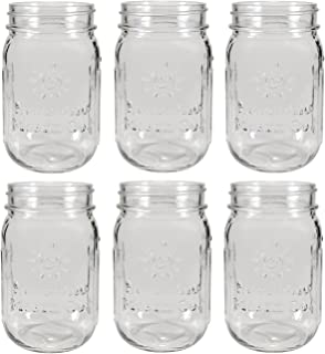 Sunshine Mason Co. Pint Size (16 ounce, 473 mL) Regular Mouth Drinking Glass Mason Jars 6 Pieces
