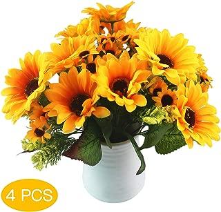 cqp 4pcs Artificial Silk Sunflowers Bouquet, Yellow Sunflower Wedding Flower Bouquet Sunflower Silk Flower Arrangement for Home Kitchen Floor Garden Wedding Decor
