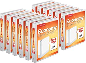 "Cardinal Economy 3-Ring Binders, 1"", Round Rings, Holds 225 Sheets, ClearVue Presentation View, Non-Stick, White, Carton o..."