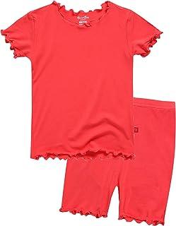 VAENAIT BABY Toddler Kids Girls Boys Solid Short Soft Shirring Viscose Cool Warm Fabric Pjs Sleepwear Pajamas 2pcs Set
