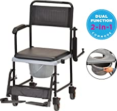 NOVA Drop Arm (for Easy User Transfer) Transport Chair Commode, Rolling with Locking Wheels & Removable Padded Seat