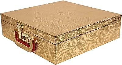 Kuber Industries Wooden Four Rod Bangle Storage Box (Gold) -CTKTC8729