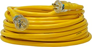 Yellow Jacket 2992 10/3 Extra Heavy-Duty 20-Amp Premium SJTW Contractor Extension Cord with Lighted T-Blade Plug, 100-Foot All Copper Wire Extension Cord, 20 Amps, 125 Volts, 2500 Watts, Yellow