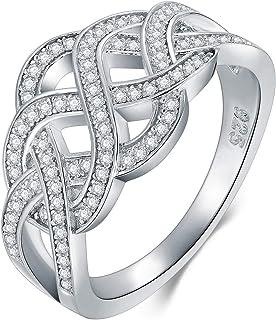 BORUO 925 纯银戒指,凯尔特结方晶锆石 CZ 婚戒可叠放戒指尺寸 4-12