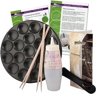 Patisse Poffertjes - Juego de sartenes con recetas para mezclar botellas y varillas, aluminio, negro, 25 cm, 6 componentes