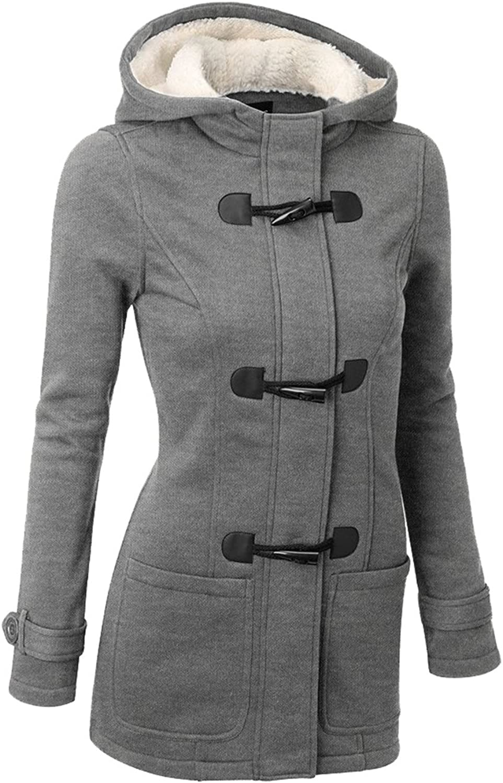 Allonly Women Long Sleeved Hooded Buckle Warm Coat Jacket Hoodie