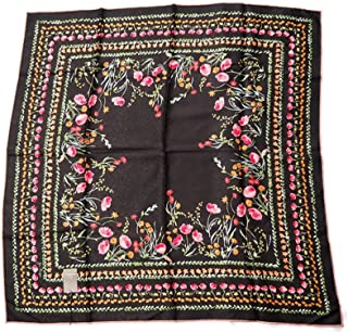 Jim Thompson 100% Square Thai Silk - 32 Inch X 32 Inch Scarf/Scarves/Shawl/Stole/Tablecloth/Home Decoration - Flowers on Black