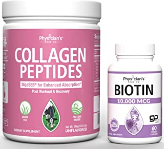 Collagen Peptides Powder - Enhanced Absorption + Biotin 10000mcg with Coconut Oil for Hair Growth