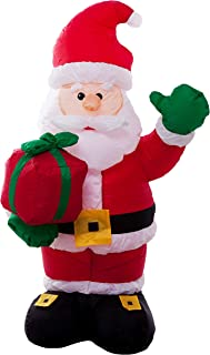 Athoinsu 4ft Lighted Santa Claus Christmas Inflatable with Xmas Gifts Self-Inflating LED Indoor Outdoor Air Blown Lawn Yard Decoration Party Prop(S)