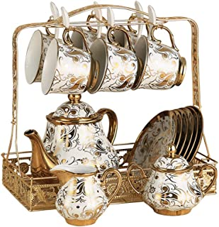 Hunkie Coffee cup set set Whole set European bone china ceramic cup and saucer tea set tea cup household water cup (Golden flower set)