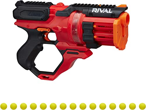 high quality NERF Rival Roundhouse XX-1500 Red Blaster -- Clear Rotating Chamber Loads Rounds into discount Barrel -- 5 Integrated Magazines, 15 Rival discount Rounds sale
