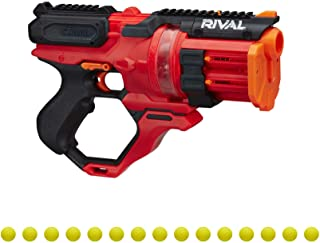 NERF Rival Roundhouse XX-1500 Red Blaster -- Clear Rotating Chamber Loads Rounds into Barrel -- 5 Integrated Magazines, 15...