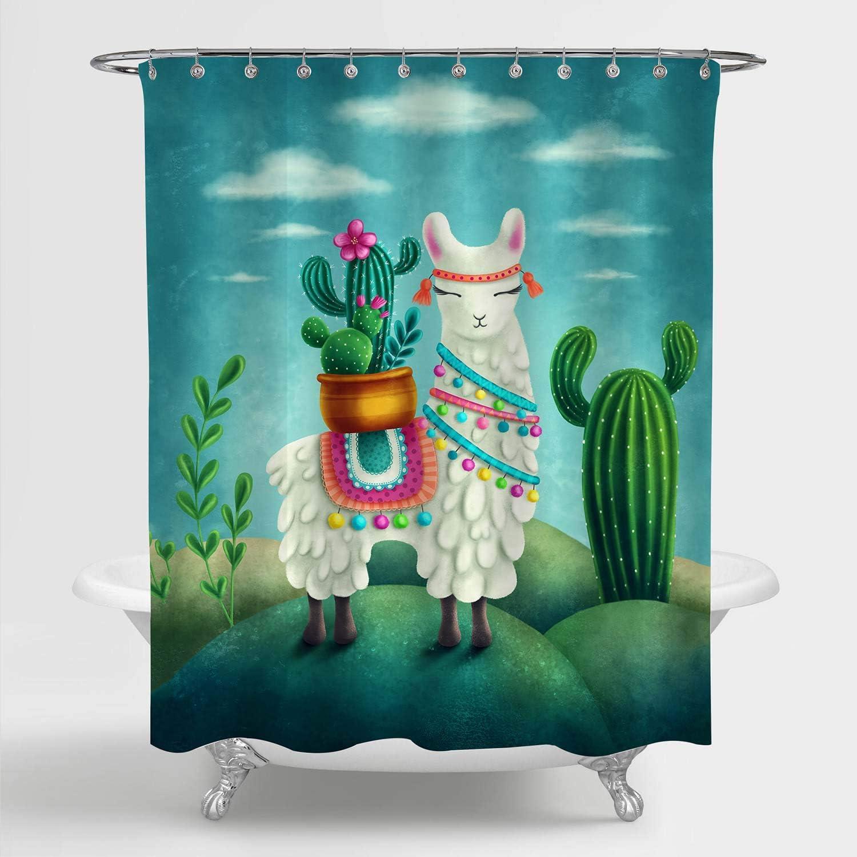 MitoVilla Los Angeles Mall Cartoon Financial sales sale Llama with Cactus Shower for Bathroom Curtain