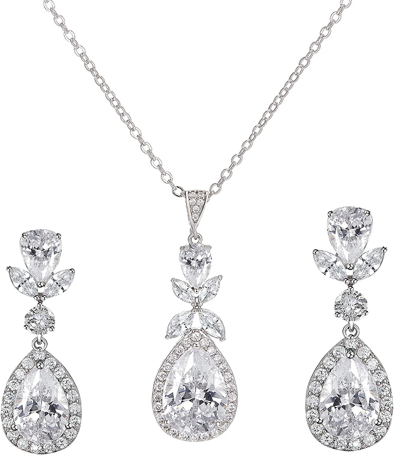 SWEETV Teardrop Wedding Bridal Jewelry Sets for Bridesmaids, Brides, Crystal Necklace Earrings Set for Women, Cubic Zirconia Wedding Prom Costume Jewelry Gifts