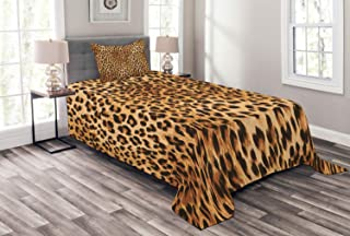 Lunarable Animal Print Bedspread, Wild Animal Leopard Skin Pattern Wildlife Nature Inspired Modern Illustration, Decorative Quilted 2 Piece Coverlet Set with Pillow Sham, Twin Size, Brown