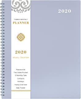 2020 Monthly Calendar Planner - 12-Month Planner with Tabs & Pocket & Label, Contacts and Passwords, 8.5