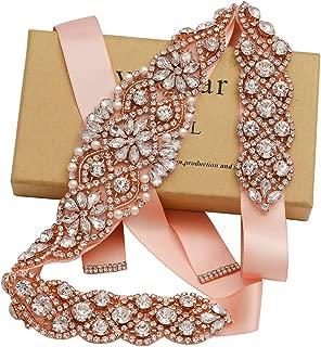 Rhinestone Bridal Sashes Hand Rose Gold Crystal For Bridal Wedding Belts