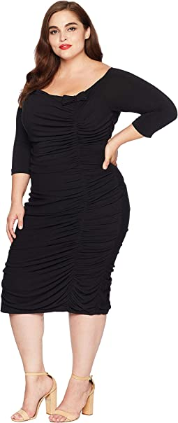 Plus Size Ruched Off Shoulder Calvet Sleeved Wiggle Dress