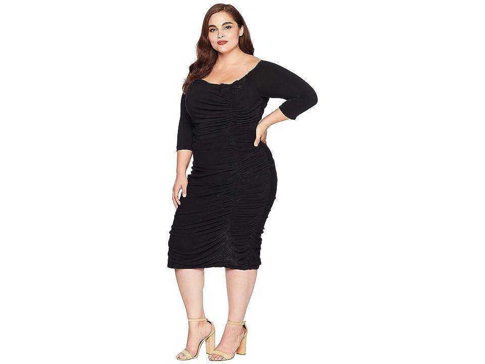 Unique Vintage Plus Size Ruched Off Shoulder Calvet Sleeved Wiggle Dress (Black) Women