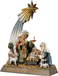 Unto Us A Child Is Born de lluvia de estrellas de Belén sagrada familia Estatua de Belén de Cristo