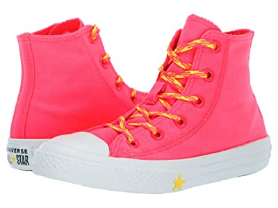 Converse Kids Chuck Taylor All Star Glow Up Hi (Little Kid) (Racer Pink/Fresh Yellow/White) Girls Shoes