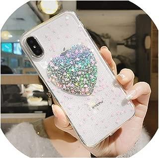 高級キラキラ透明ハート電話ケースiphone 8 8プラス7 7プラス6 6 sプラスキラキラ火花カバースタイリス,for iPhone 6s,Orange