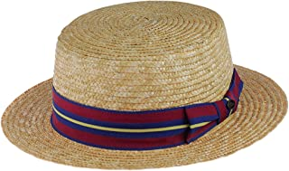 Unisex Grosgrain Ribbon Straw Skimmer Boater Hat