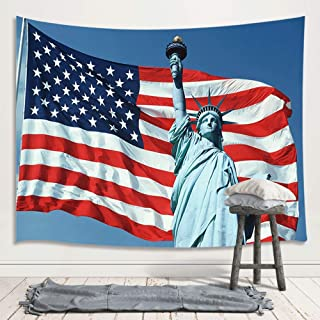 Statue of Liberty Decor Tapestry, Independence Day Fourth of July American Stars Stripes US Flag Art Wall Hanging for Bedroom Living Room College Dorm TV Backdrop Wall Blankets 71X60 Inches