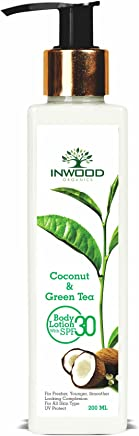 INWOOD ORGANICS Coconut & Green Tea Refreshing Body Lotion For Skin Whitening & Uv Protect - 200 Ml (Paraben Free), 200 ml