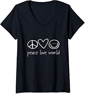 Womens Funny Peace Love Happiness - Peace Sign Shirt V-Neck T-Shirt