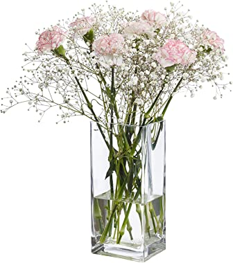 """Diamond Star Tall Square Vase Home Decorative Flower Glass Vase Wedding Party Table Centerpieces(4""""×4""""×10"""")"""