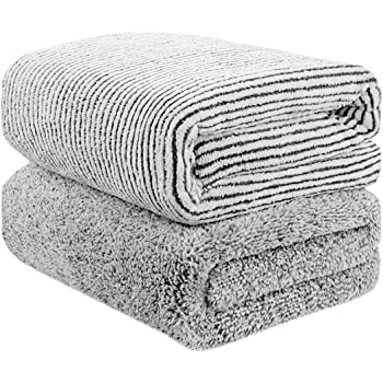 """55"""" x 29"""" Oversized Bath Towels Bamboo, Microfiber Shower Towel for Body, Towel Sets for Bathroom Clearance, Super Absorbent & Quick-Dry Towel Washcloths for Gym Home Hotel Office Travel (2 Pack)"""