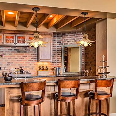 Mini Antler Pendant Lighting Small Farmhouse Hanging Pendant Light Fixtures for Kitchen Island Over Sink Dining Room Bathroom
