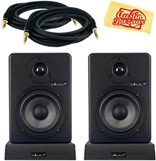 Vault C5 Powered Studio Reference Monitor Pair Bundle with Two Monitors, Cables, and Austin Bazaar Polishing Cloth