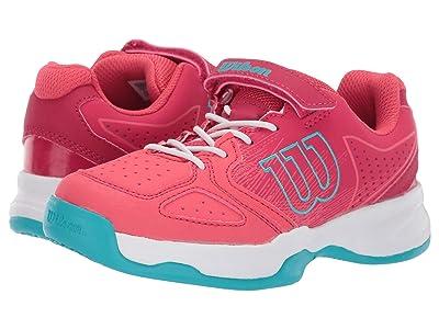 Wilson Kids Kaos K Tennis (Little Kid) (Paradise Pink/White/Peacock Blue) Girls Shoes