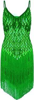 QinCiao Women's 1920s Glitter Sleeveless Fringe Sequin Summer Casual Club Mini Party Dress