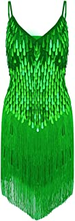 CHICTRY Women's Sequin Fringe Tassels Ballroom Samba Tango Latin Dance Dress