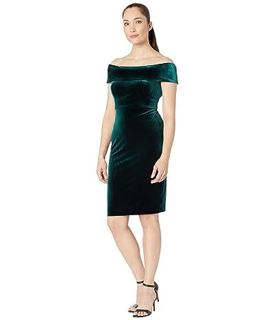 Calvin Klein Off Shoulder Sheath Dress (Malachite) Women