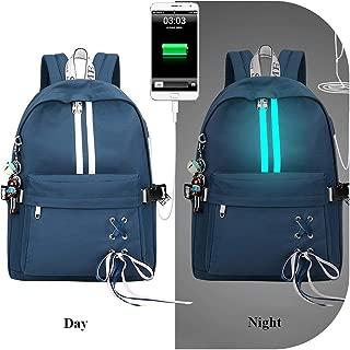 Fashion Anti Theft Reflective Waterproof Wbackpack USB Charge School Bags for Girls Travel Laptop Rucksack Bookbags,Dark Blue,30X13X40Cm