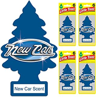LITTLE TREES Car Air Freshener   Hanging Tree Provides Long Lasting Scent for Auto or Home   New Car Scent, 6-packs (4 count)