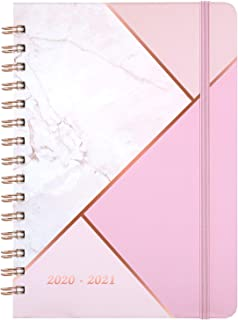 "2020-2021 Planner - Academic Weekly & Monthly Planner with Tabs, 6.3"" x 8.4"", July 2020 - June 2021, Hardcover with Back Pocket + Thick Paper + Banded, Twin-Wire Binding - Pink Marble"